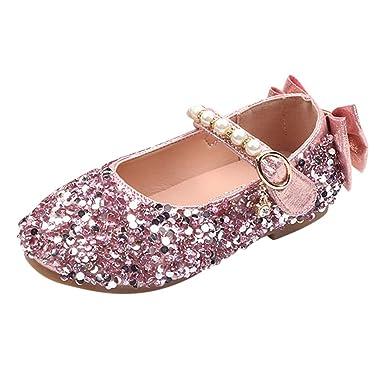 Sweet Kids Girl Pearls Bowknot Mary Jane Flats Dress Shoes Princess Flower Girls