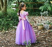 yeesn Disfraz de la Princesa Rapunzel para niña Manga Larga Vestido de Manga Cosplay Fiesta de cumpleaños de Halloween Vestido Vestido (130cm)