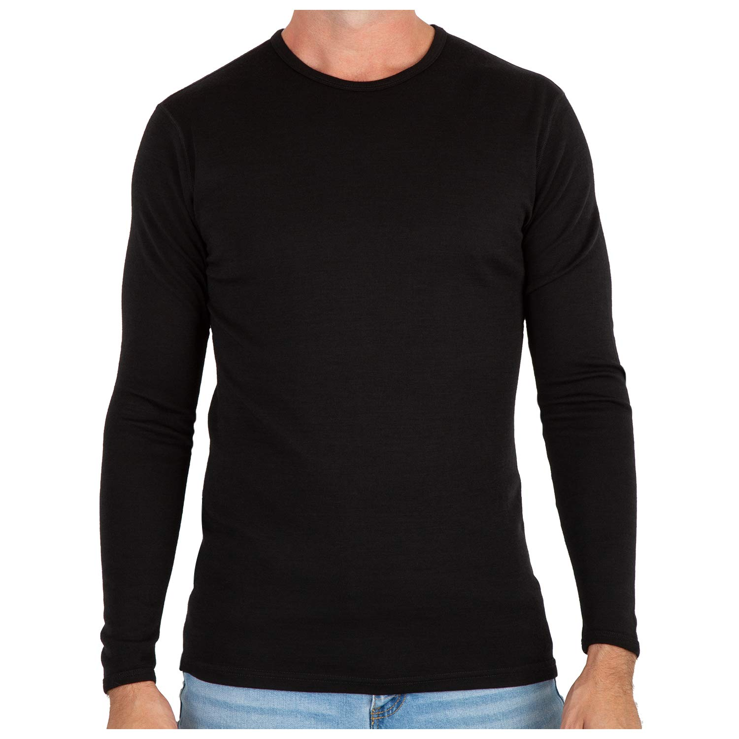 MERIWOOL Men's Merino Wool Midweight Baselayer Crew - Black/M