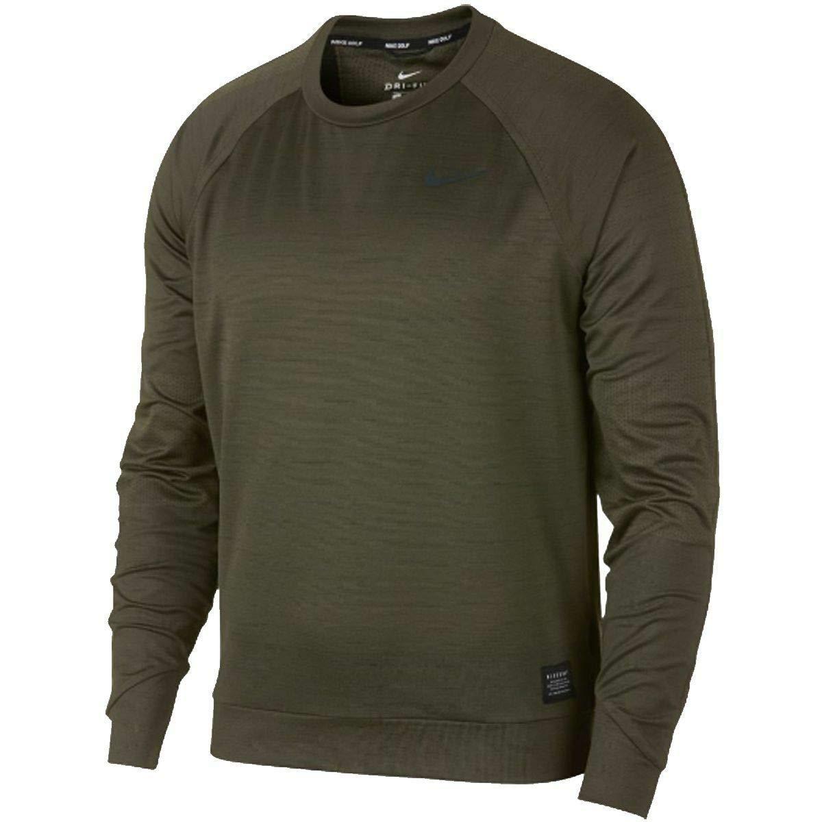 c4a40e0e4 Amazon.com: Nike Dry Brushed Golf Crew Long Sleeve Shirt Olive Green Size  XL 932316-396: Clothing