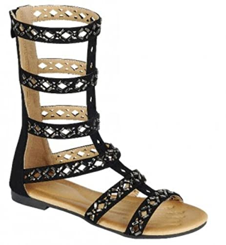 9ca40d957315b Women sMid calfGolden Wing Embellishment Flat Open Toe Caged Gladiator  Kesha-72 Roman Sandal