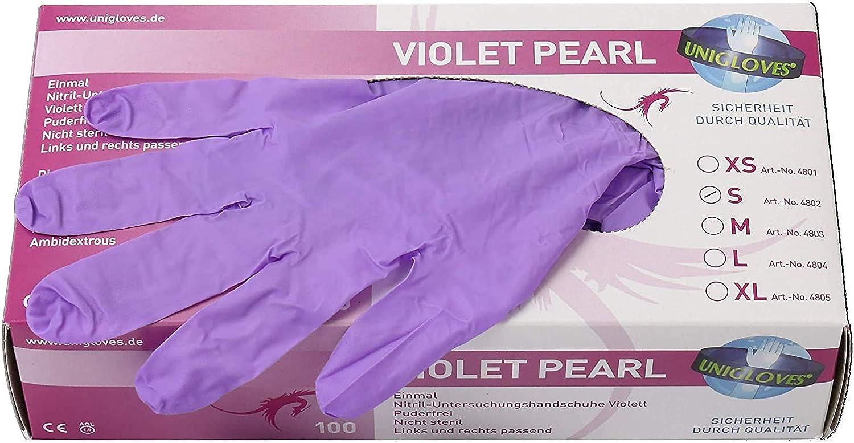 100 unidades guantes desechables en vers Guantes de nitrilo . resistente color violeta Tama/ños mediano