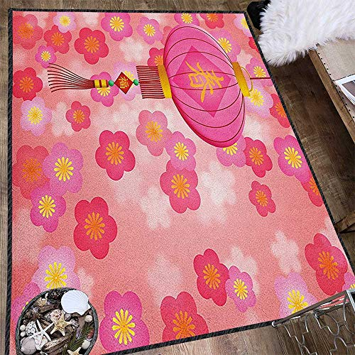Lantern Super Soft & Cozy Rugs,Chinese New Year Theme Cherry Blossom Auspicious Festive Celebration Print Non Slip Absorbent Super Cozy Pale Pink Yellow 63