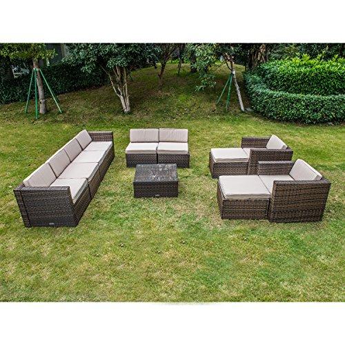 MAGIC UNION Outdoor Patio PE Rattan Wicker Cushion Furniture Patio Furniture 11 Pieces Sofa Set 11 Piece Furniture