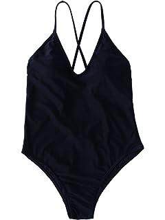 e7ac62aa2b SOLY HUX Women Sexy Push up Bikini One Piece Lace up Back Monokini Swimsuit