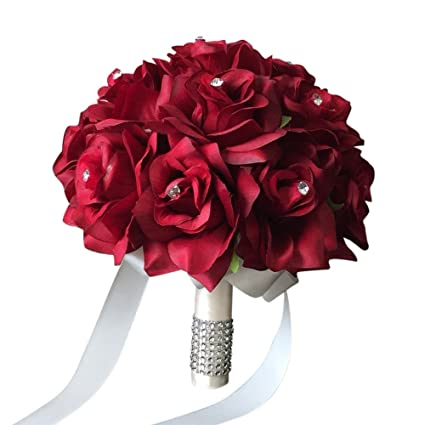Red Rose Wedding Bouqet.9 Wedding Bouquet Apple Red Open Roses With Rhinestone And Bling Decor Ivory Ribbon