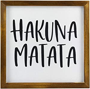 EricauBird Wood Sign, Hakuna Matata Sign, Shelf Sitter Wood Decor, Small Sign with Base Stand, Cute Saying, Lion King, Theme Decorative Home Wall Art 12x12