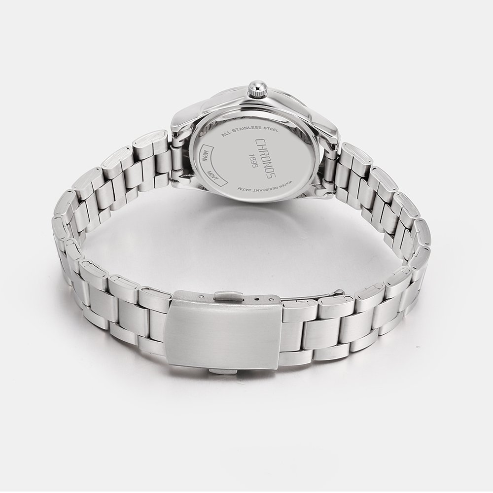Chronos Women Girls Silver Stainless Steel Quartz Waterproof Watch Round Analog Silver Dial by Chronos (Image #3)
