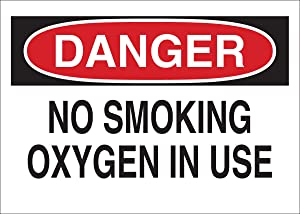 "Brady 25086 Plastic No Smoking Sign, 7"" X 10"", Legend ""No Smoking Oxygen In Use"",Black/Red on White"
