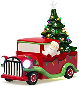 Goplus Vintage Red Truck Decor, LED Lighted Tabletop Ceramic Christmas Tree with Colorful Lights, Battery-Operated Christmas Truck for Office Home Holiday Decoration Xmas Supplies