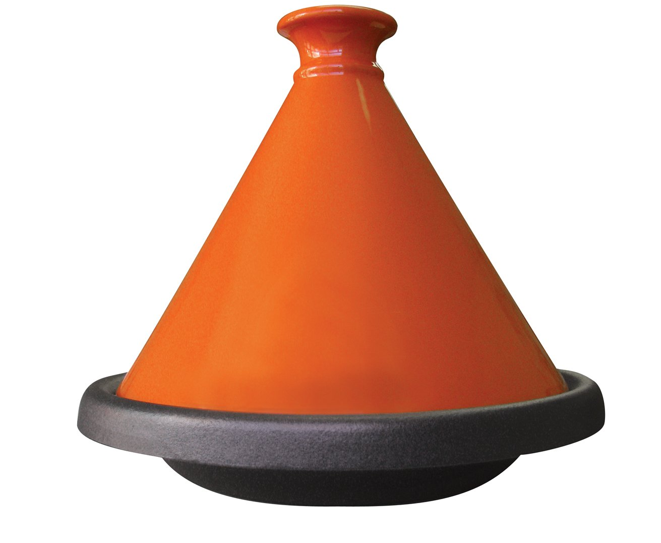Le Cuistot Enameled Cast Iron 12 Inch Tagine- Bright Orange Orly