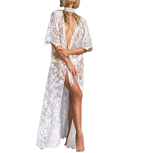 7a06913e2aa11 Hotcl 2019 Women White Swimsuit Cover Up Bathing Suit Kimono Long Beach  Dress Floral Lace Bikini Swim Coverup at Amazon Women's Clothing store: