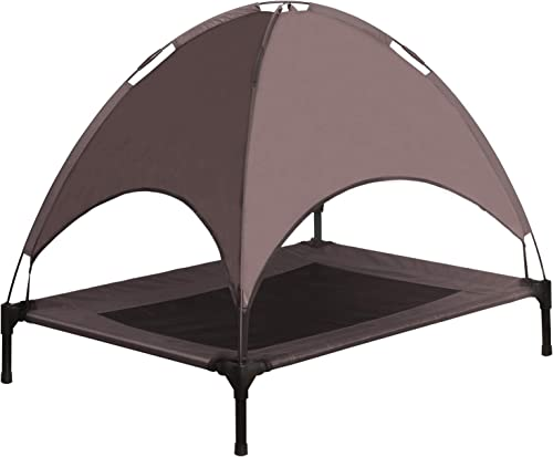 Niubya Elevated Dog Bed with Canopy, 1680D Oxford Fabric Mesh Portable Raised Pet Cot, Brown