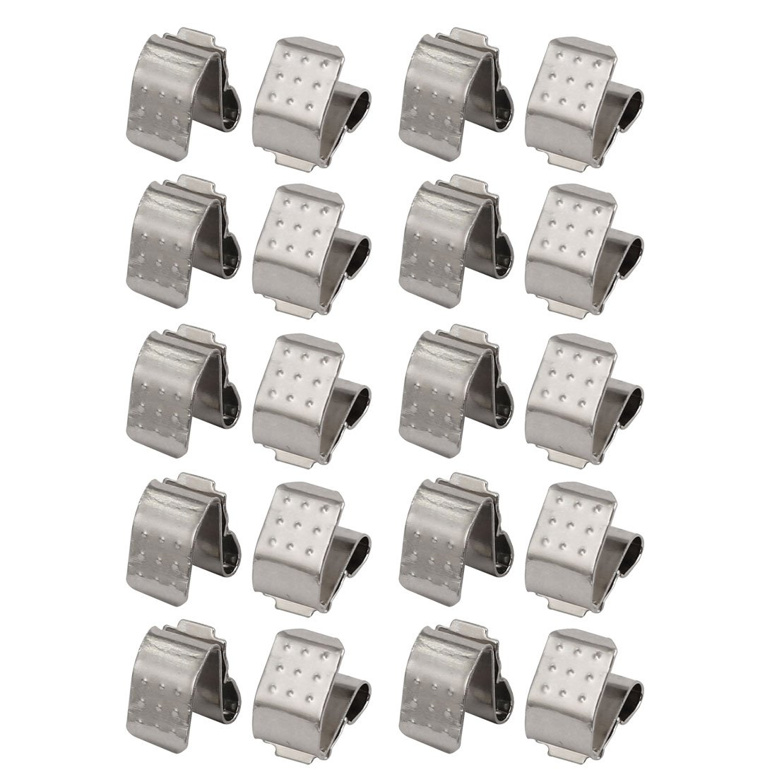 uxcell® 20 Pcs Silver Tone Metal AAA Battery Plate Shrapnel Clamp BC-204