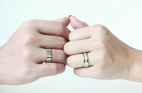 KNSAM - Anillos de boda para mujeres y hombres Precio de acero inoxidable, Anillos de banda con circonita 6mm de ancho plata Mujer 12 & Hombre 15: ...
