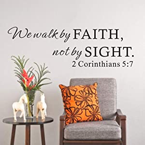 FlyWallD Scripture Bible Vinyl Wall Sticker Quotes We Walk by Faith not by Sight Bedroom Art