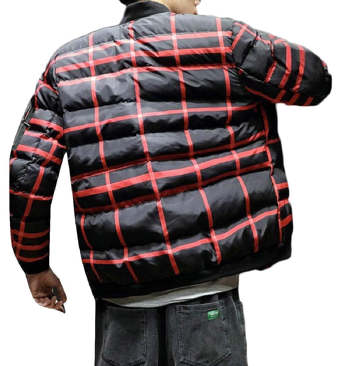 ZXFHZS Mens Winter Oversize Padded Stylish Plaid Thick Down Jacket Coat