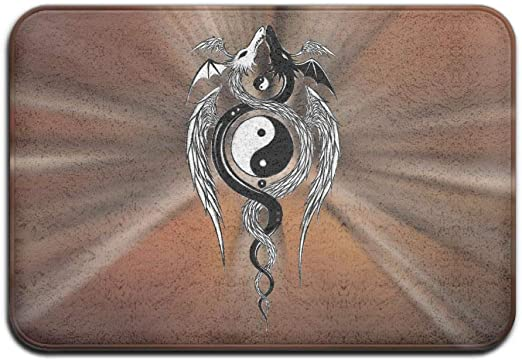 Amazon Com Dragon Yin And Yang Design Symbol Outdoor Rubber Mat