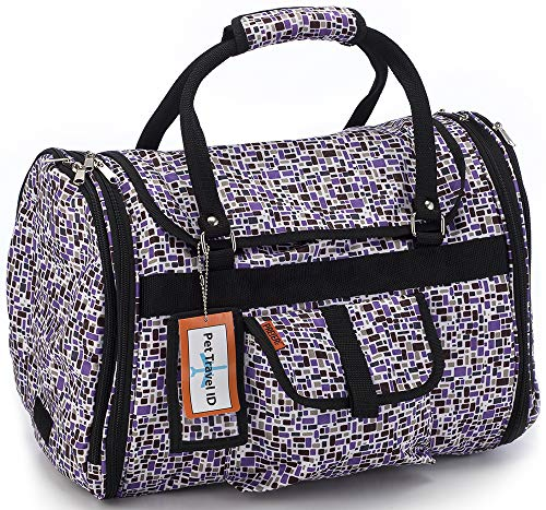 Prefer Pets Travel Gear  Privacy Pet Carrier, Purple Mosaic