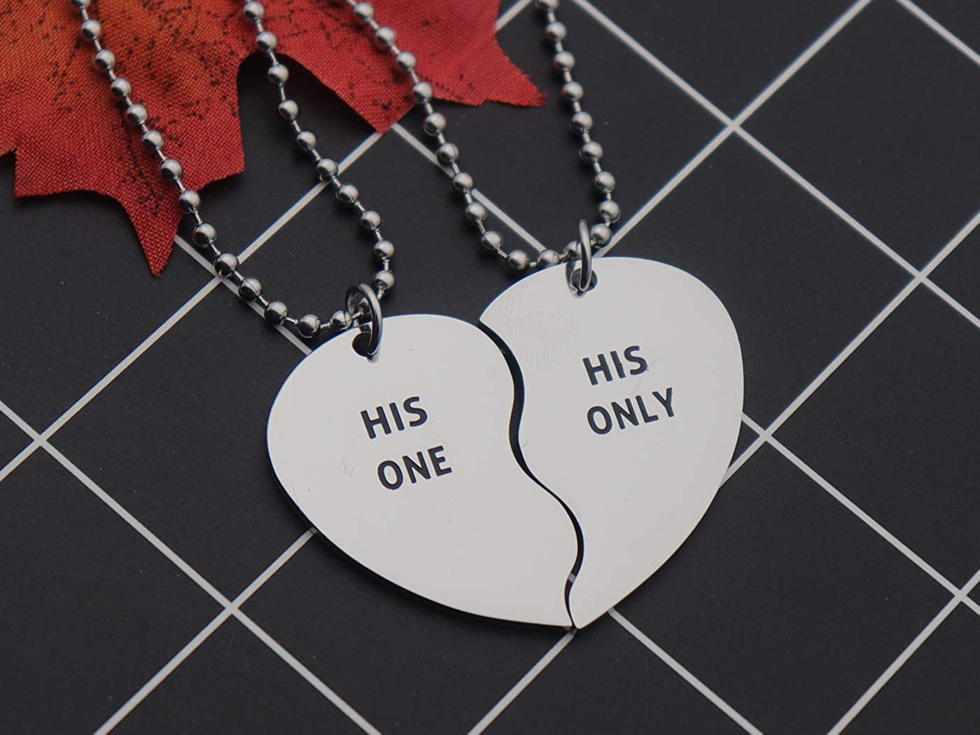 142cf37a28 Amazon.com: Eilygen Gay Couple Gifts Stainless Steel Heart Charm Necklace  Set LGBT Necklace Gay Necklace (His One His Only): Jewelry
