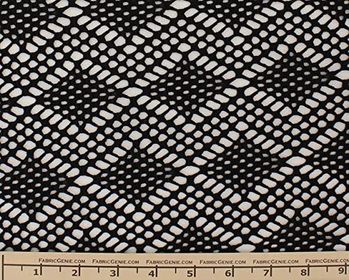 White Poly Cotton Crochet Lace Fabric by the Yard Zig Zag Chevron Style 6000