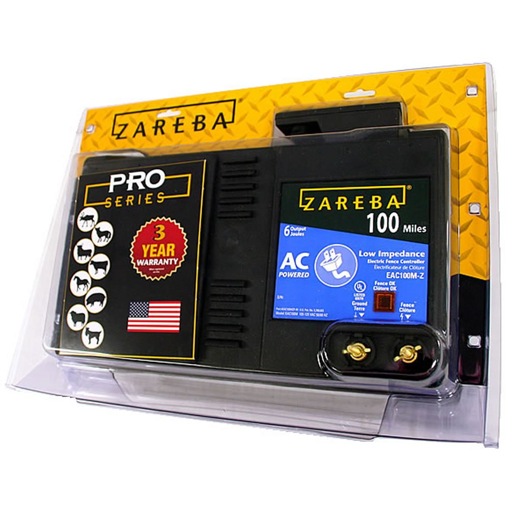Zareba 100 Mile AC Powered Low Impedance Electric Fence Charger; Energizes up To 100 miles of Fence Under Optimal Conditions; Works in Heavy Weed Conditions; Include Storm Guard Lightning Protection by Zareba
