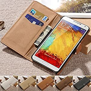 Soft Feel Wallet Stand Design PU Leather Case for Samsung Galaxy Note 3 N9000 Luxury Flip Style with Card Holder 2015 New --- Color:White