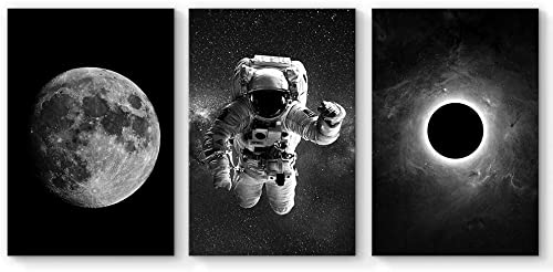 SIGNFORD 3 Panel Canvas Wall Art Astronaut Grand Eclipse Moon Kids Canvas Painting Wall Decor