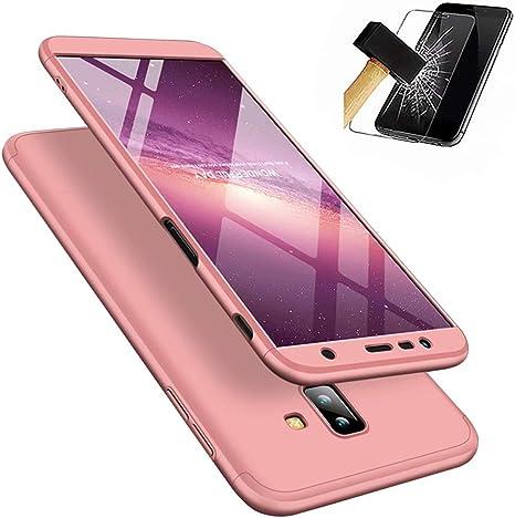 MUTOUREN Funda Samsung Galaxy J6 Plus con Protector de Pantalla Cubierta 360 Grados Caja Protectora PC Shell Anti-Shock Almohadilla Anti-rasguño Completo del Cuerpo Caso (Oro Rosa): Amazon.es: Electrónica