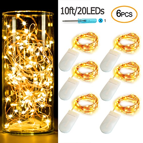 Pack of 6 Sets LED Starry String Lights 30 Micro Starry Leds on 10ft(3m) Copper Wire,Fairy Lights Battery Powered by 2x CR2032(Included),For DIY Wedding Centerpiece or Table Decorations (6,Warm White)