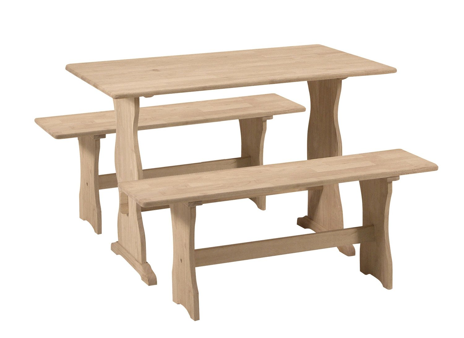 Amazon international concepts trestle table with 2 benches amazon international concepts trestle table with 2 benches unfinished kitchen dining geotapseo Images
