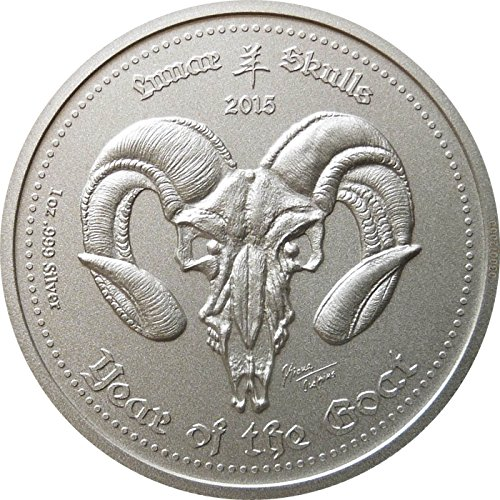 - 2015 GH Lunar Skulls YEAR OF THE GOAT First Year of Series - Low mintage of only 2000 pieces - SM Mint & SkullCoins - Ghana 5 Cedis BU