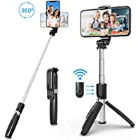 Selfie Stick Tripod, All in One 40 Inch Extendable Phone Tripod with Detachable Wireless Bluetooth Remote Adjustable…