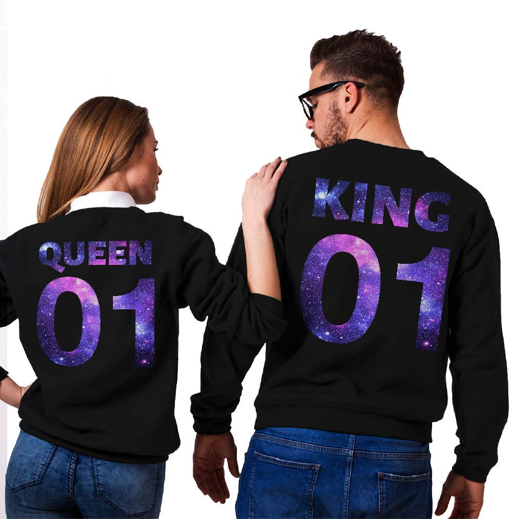 Funny Awesome Matching Couples Shirt Unisex Style Sweatshirt SMLBOO King and Queen 01 Galaxy