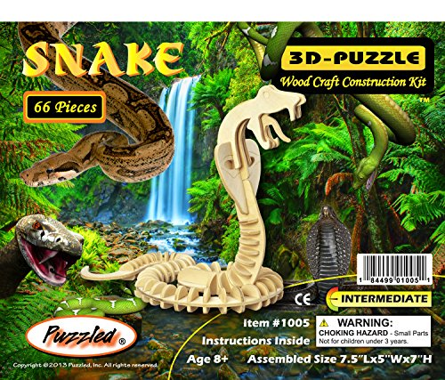 (Puzzled Snake 3D Jigsaw Woodcraft Kit Wooden Puzzle )