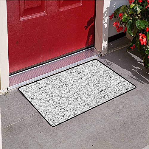 GloriaJohnson Pirates Welcome Door mat Doodle Drawing Style Pattern with Rum Barrels Swords Guns Skulls Treasure Maps Door mat is odorless and Durable W19.7 x L31.5 Inch Black White