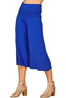 4b0114f817e28 Annabelle Women's Fold Over Waist Wide Leg Culotte Gaucho Capri Pants