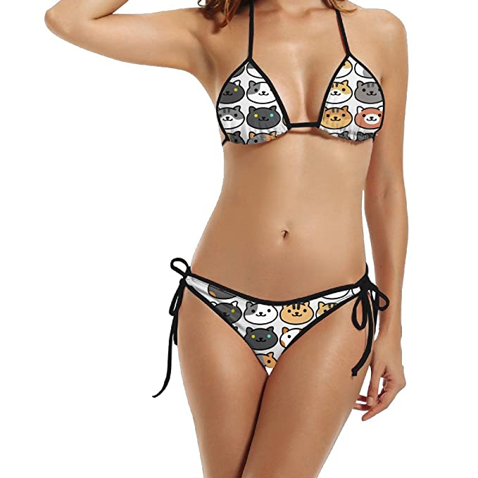 Amazon.com: Mujeres Neko Atsume muchos gatos elegante Bikini ...
