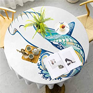 JKTOWN Abstract Kitchen Table Tablecloth Spring Dining Room and Kitchen Decorative 59 inch Hammer Head Shark Ornate Underwater Sea Ocean Life Animals Marine Blue Aqua White