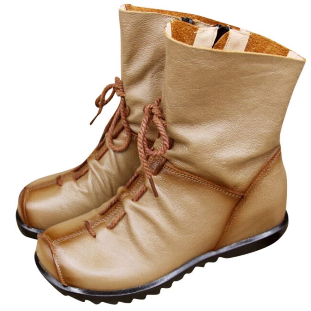 SUCES Leder Stiefel fü r Damen Retro Stiefeletten Frauen Bequeme Schuhe Rutschfester Sohle Mode Boots Klassische Handgemachtes Stiefelette Elegant Warme Lederstiefel