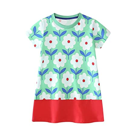Covermason Niños Ropa Venta de liquidación Niños pequeños Bebés y niñas Vestido de manga corta dibujos animados flor vestidos túnica Trajes niños traje(5T, ...