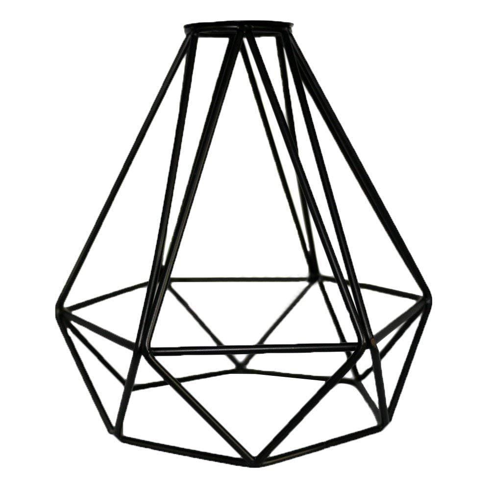 per lampade a sospensione portalampada industriale HXHON Paralume in metallo a forma di diamante 2pcs stile vintage paralume in filo di ferro nero lampadario da soffitto