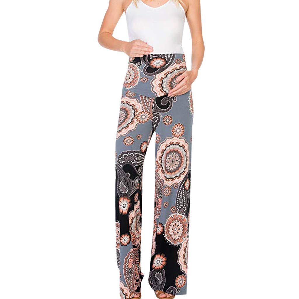 53c7bc4a2f880 Amazon.com: Maternity Pants Boho Floral High Waist Comfy Stretch Palazzo  Wide Leg Lounge Trousers: Suoxo