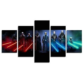 Leyruk 5 Stück Jedi Und Sith Star Wars Leinwand Gemälde Für Wohnzimmer  Wohnkultur Leinwand Kunst Wand