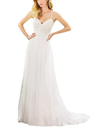 Holygift Women\'s Mermaid Backless Lace Wedding Dresses For Bride ...