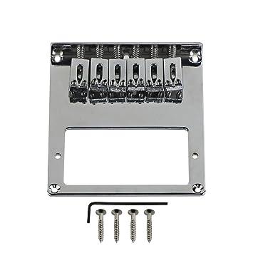 FLEOR ajustable 6 selletas para guitarra puente hardware w/abertura para pastilla humbucker para guitarra eléctrica Fender Tele Style Guitarra Eléctrica, ...