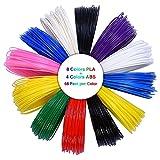 ALUNAR 3D Pen Filament Refills Fit for 3D Printing Drawing Pen and 3D Printer 1.75mm Plastic 8 PLA 4 ABS Packs 12 Assorted Colors at 66 Ft Per Color 792 Feet in Total