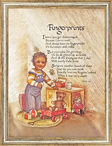 Fingerprints Poem by Wendy Lyn Wall Decor Art Metallic Ink Print Mini Poster (6x8 Inch) Framed in -