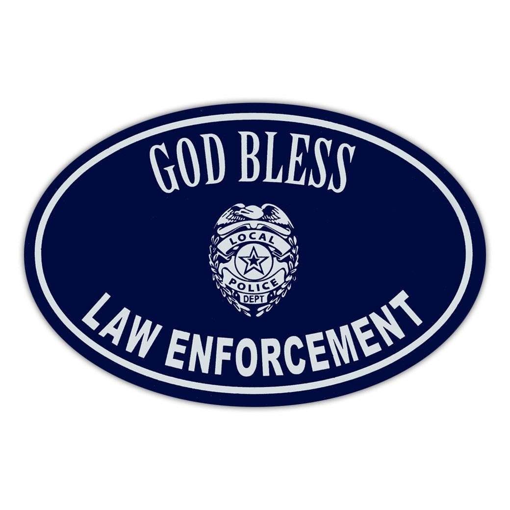 """Refrigerator Magnet - God Bless Law Enforcement - Police Sheriff Cops Officers Military - 6"""" X 4"""""""