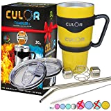 Best Tumblers With Straw Cups - Yellow CULOR: 30oz Stainless Steel Tumbler w/ 2 Review